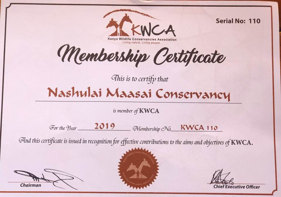 Membership & Recognition from Kenya Wildlife Conservancies Association (KWCA)